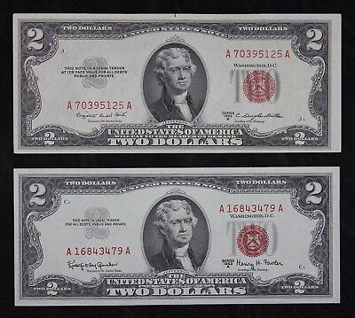 Pair $2 red seal US Notes, UNC 1953B, AU 1963A, two dollar, FREE SHIPPING