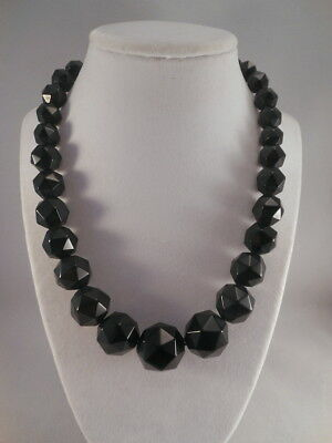 Antique Victorian Lustrous Black Whitby Jet Faceted Graduating Bead Necklace