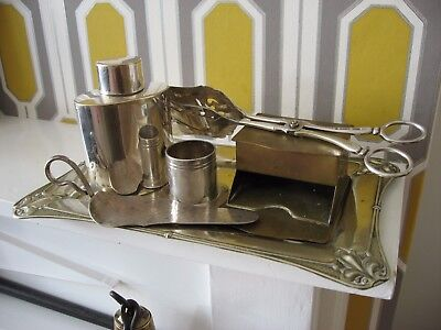 6 unusual items including an Art Nouveaux silver plated tray & Mappin & Web talc