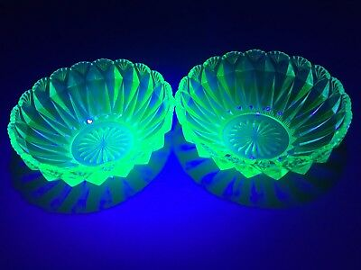 Pair Vintage Uranium Depression Glass Nappy Bowls.Glow brightly. Exc condition