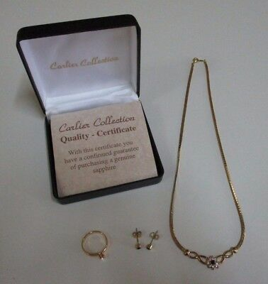 Carlier Collection Elegant Gold Tone and Sapphire Necklace, Ring and Earring Set