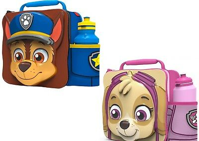 Paw Patrol Chase Skye 3D Lunch Box Bag & Bottle Christmas Set School Xmas Gift