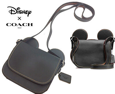 NWT Disney X Coach Mickey Patricia Saddle with Ears Black Leather 59369 LIMITED