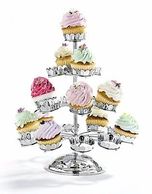 BRAND NEW Godinger Chrome-Plated Revolving Four Tier 21 Cupcake Stand