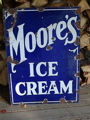 Vintage original two sided porcelain ice cream sign Moore's 1920's