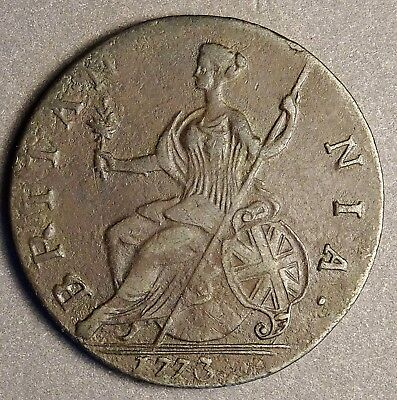 *** Authentic American Revolutionary War Coin 1773 Unusual Date (73X24CVS In#