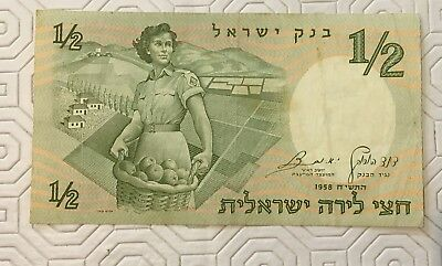 1/2 Israeli Lira BankNote 1958 Bank Of Israel Excellent Condition (#Q197)