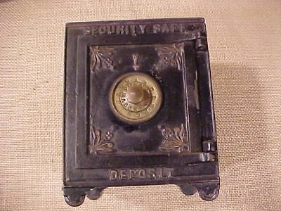 Original Antique Security Safe Deposit Cast Iron Bank With Drawers