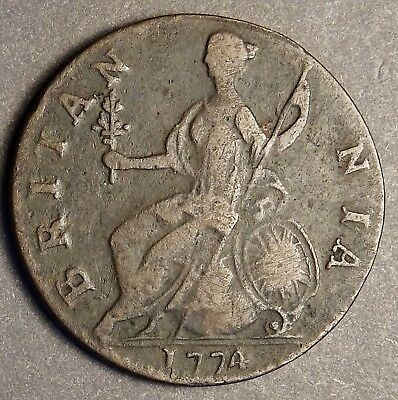 *** Authentic American Revolutionary War Coin 1774 4 like 'A' (74095CVS In#