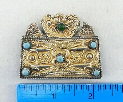 E - Gold on silver charm box, approx 17 grams
