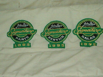 Set Of 3 John Deere 1995 Signature Dealer Patches  Parts Sales Service