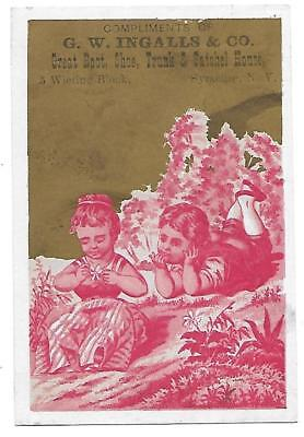 G. W. Ingalls & C0.shoes Boots Victorian Trade Card Syracuse N. Y. 1890's