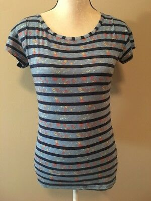 1e1a8dcb Splendid Womens Striped Blue Orange Yellow Floral Short Sleeve Top Small