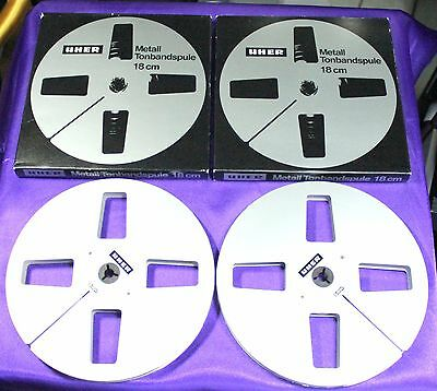 """2 ++ NEW ++ UHER  EMPTY PRECISION METAL REEL 7"""" (7 inch); 1/4"""" TAKE UP REEL FINE"""