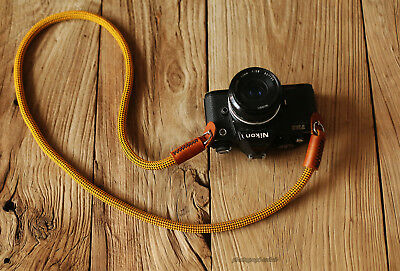 Windmup gold Climbing rope 10mm  brown leather handmade Camera neck strap