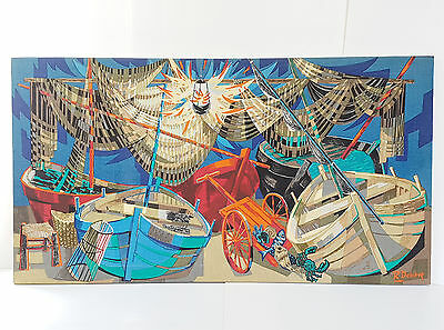 Robert Dash : Tapestry Printed 60S The Boats And Nets 1960 Vintage 60's