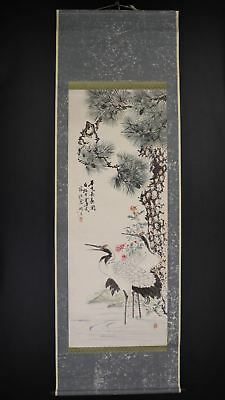 """JAPANESE HANGING SCROLL ART Painting """"Cranes"""" Asian antique  #E8028"""