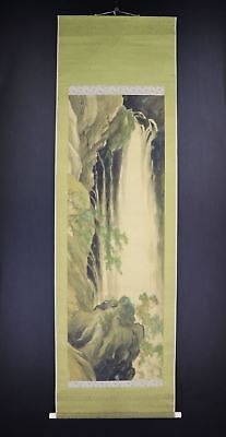 """JAPANESE HANGING SCROLL ART Painting """"Waterfall"""" Asian antique  #E8034"""