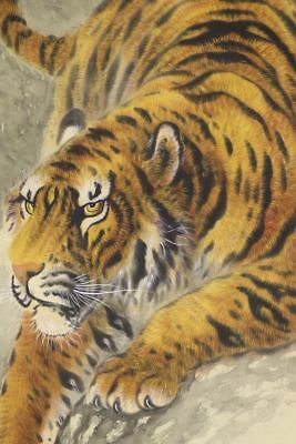 """JAPANESE HANGING SCROLL ART Painting """"Tiger"""" Asian antique  #E8035"""