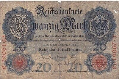 1908 Germany 20 Mark Note, Pick 31