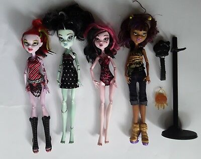 Monster high dolls 4 bulk lot Operetta Frankie Draculaura Clawdeen good cond