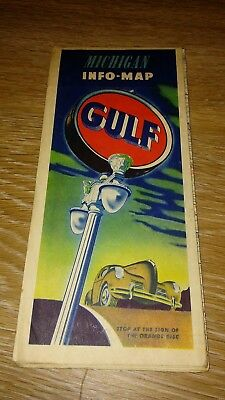 VINTAGE 1940's GULF INFO-MAP GAS OIL SERVICE STATION MAP RAND MCNALLY MICHIGAN