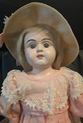 Antique German tin brass head kid leather body glass eyes ORIGINAL doll 23""