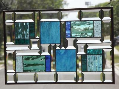 "•Caribbean Sea•Beveled Stained Glass Window Panel •21 ½""x13 ½""(55x34cm)"