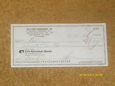 SMOKEY ROBINSON signed check from 1991 (NM shape)