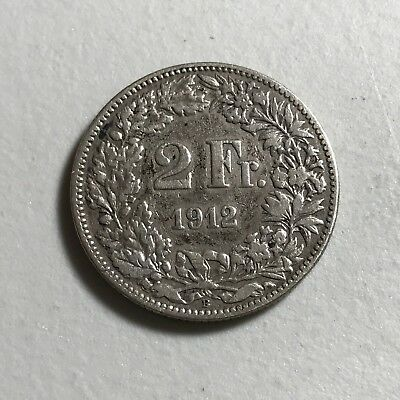1912B Switzerland 2 Francs world foreign silver coin good condition high value