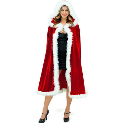Women's Sexy Christmas Cloak Cape Mrs Santa Claus Party Cosplay Costume Hooded