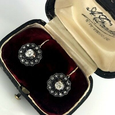 Antique Russian Snowflake Diamond Gold Cluster Earrings, St. Petersburg c.1892