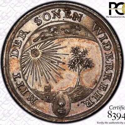 Finest & Only @ Ngc & Pcgs Ms63 1760 Germany Forster-200 Silver Medal Toned Sun