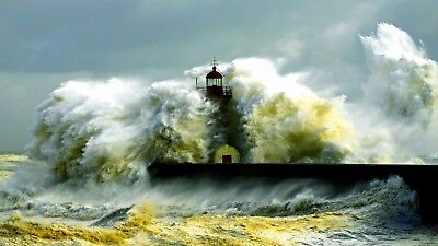 Storm,lighthouse,pier Canvas print wall Home Decor Quality canvas print