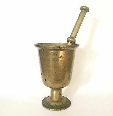 Large Antique 19th Century Brass Apothecary Mortar & Pestle