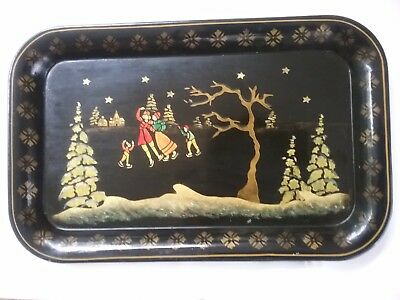 vintage tole painted stenciled tray holiday winter christmas skaters 14 inches