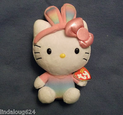 Hello Kitty Easter Bunny With Pastel/rainbow Ears Collectible Ty Beany Baby Nwt