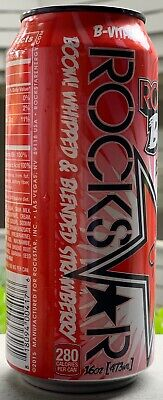 New Rockstar Boom Whipped Strawberry Energy Drink 16 Fl Oz Full Can Blended Taur