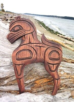 Northwest Coast First Nations Native wooden Art carving: Horse, signed, RARE
