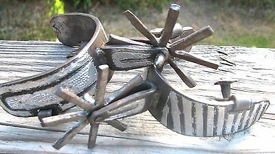 Antique Country Western Cowboy Old West Silver Boot Spurs - Intricately Carved