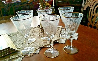 Fostoria GOLDWOOD Water Goblet SET OF SIX Fostoria Etched Elegant Glass Stems