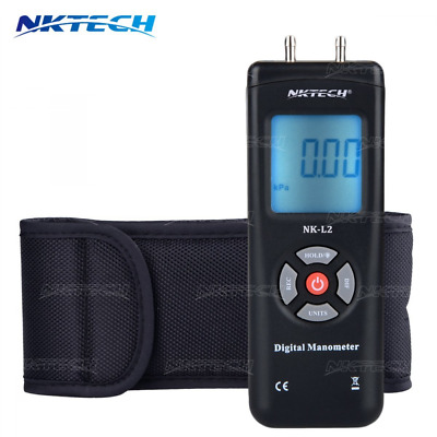 NKTECH 1890 Digital Manometer Differential Air Gauges Pressure Meter ±13.79kPa ±