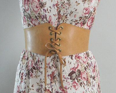 Vintage 1970s 70s Bohemian Corset Leather Belt - Size Small