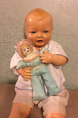 Cute Vintage 1930's China Head and Cloth Carnival Baby Doll Toy