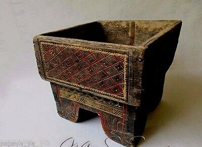 An Unusual Antique Hand Carved Wood Tribal Betel Box - Siam,Thailand.
