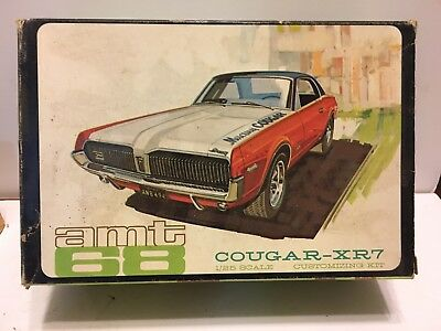 VINTAGE AMT 1968 Mercury COUGAR XR-7 Box And Parts