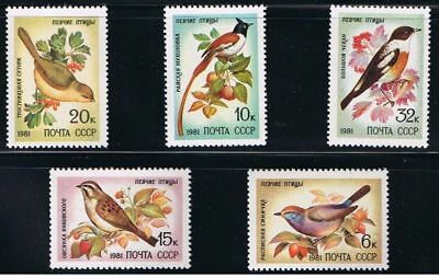 SONG Birds RUSSIA MNH 1981 Sc 4972-4976 Mi 5103-5107 Complete SET of 5