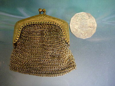 TINY Vintage BRASS Gold Metal CHAIN MESH Mini COIN PURSE MORE LISTED