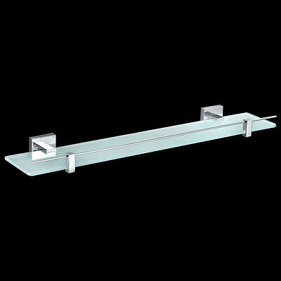 Bathroom Square Single Glass Shower Shelf 600mm Wall Mounted Brass Chrome