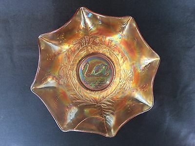 MARIGOLD CARNIVAL GLASS SWAN BOWL Rd. 4697 250mm DIAMETER & 85mm TALL